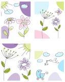 Conjunto de tarjetas de felicitación ilustración del vector