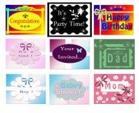 Conjunto de tarjetas de felicitación Imágenes de archivo libres de regalías
