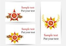 Conjunto de tarjetas de felicitación con los objetos militares Imagenes de archivo