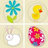 Conjunto de tarjetas de felicitación lindas de Pascua Imagen de archivo