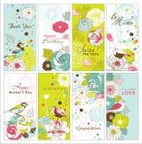 Conjunto de tarjetas de felicitación Fotos de archivo