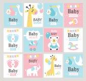 Conjunto de tarjetas de la ducha de bebé Fotos de archivo libres de regalías