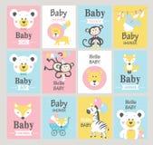 Conjunto de tarjetas de la ducha de bebé Imágenes de archivo libres de regalías