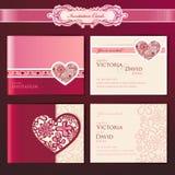 Conjunto de tarjetas de la invitación de la boda Imagenes de archivo