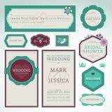 Conjunto de tarjetas de la invitación de la boda Fotos de archivo