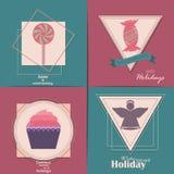Conjunto de tarjetas de Navidad Con el hogar del invierno, el árbol de Navidad, el globo de la nieve, y los elementos del reno Id Imagen de archivo