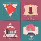 Conjunto de tarjetas de Navidad Con el hogar del invierno, el árbol de Navidad, el globo de la nieve, y los elementos del reno Id Fotos de archivo
