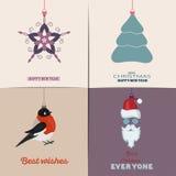 Conjunto de tarjetas de Navidad Con el hogar del invierno, el árbol de Navidad, el globo de la nieve, y los elementos del reno Id Fotografía de archivo