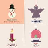 Conjunto de tarjetas de Navidad Con el hogar del invierno, el árbol de Navidad, el globo de la nieve, y los elementos del reno Id Imágenes de archivo libres de regalías