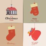 Conjunto de tarjetas de Navidad Con el hogar del invierno, el árbol de Navidad, el globo de la nieve, y los elementos del reno Id Foto de archivo
