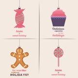 Conjunto de tarjetas de Navidad Con el hogar del invierno, el árbol de Navidad, el globo de la nieve, y los elementos del reno Id Imagen de archivo libre de regalías