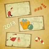 Conjunto de tarjetas de Navidad retras Fotografía de archivo