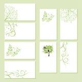 Conjunto de tarjetas de visita, ornamento floral stock de ilustración
