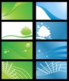 Conjunto de tarjetas de visita respetuosas del medio ambiente Imágenes de archivo libres de regalías