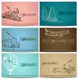 Conjunto de tarjetas del transporte del vintage. Imágenes de archivo libres de regalías