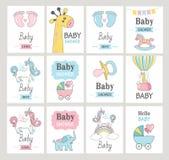 Conjunto de tarjetas de la ducha de bebé ilustración del vector