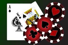 Conjunto de tarjetas que juegan. Foto de archivo