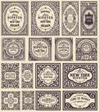 Conjunto de tarjetas retro Elementos organizados por capas Imagen de archivo