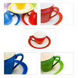 Conjunto de tazas coloreadas del café/de té Fotos de archivo