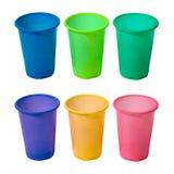 Conjunto de tazas plásticas Foto de archivo