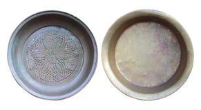 Conjunto de tazones de fuente de cobre viejos. Foto de archivo libre de regalías