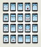 Conjunto de teléfonos de las sonrisas con diversas emociones Imágenes de archivo libres de regalías