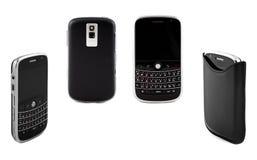 Conjunto de teléfonos móviles aislados en la tierra de la parte posterior del blanco Foto de archivo