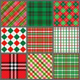 Conjunto de telas escocesas de la Navidad Imagen de archivo