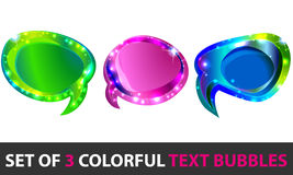 Conjunto de textboxes que brillan intensamente coloridos Imagen de archivo