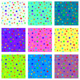 Conjunto de texturas inconsútiles estrelladas Fotos de archivo