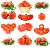 Conjunto de tomates maduros rojos Foto de archivo