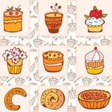 Conjunto de tortas del doodle Imágenes de archivo libres de regalías