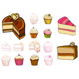 Conjunto de tortas ilustradas Imagen de archivo libre de regalías