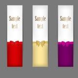 Conjunto de tres banderas con las cintas. vector stock de ilustración