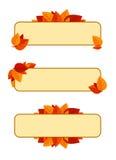 Conjunto de tres banderas con las hojas de otoño. ilustración del vector
