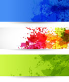 Conjunto de tres banderas del grunge ilustración del vector