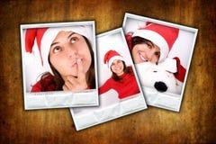 Conjunto de tres bastidores de la foto con imágenes de la Navidad Foto de archivo