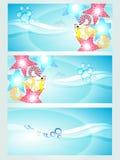 Conjunto de tres cabeceras que visualizan ondas libre illustration