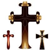 Conjunto de tres cruces cristianas Imagen de archivo libre de regalías