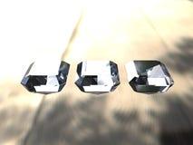 Conjunto de tres diamantes del corte de la esmeralda Imágenes de archivo libres de regalías