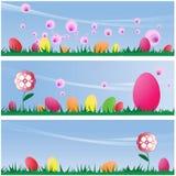 Conjunto de tres fondos de las escenas de Pascua Stock de ilustración