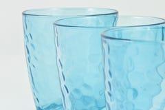 Conjunto de tres tazas azules Fotografía de archivo libre de regalías