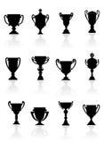 Conjunto de trofeos de los deportes Fotos de archivo libres de regalías