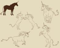 Conjunto de unicornios Imagenes de archivo