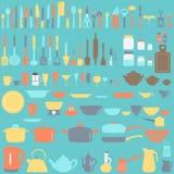 Conjunto de utensilios de la cocina Fotografía de archivo