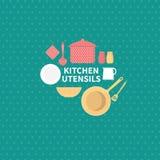 Conjunto de utensilios de la cocina Fotografía de archivo libre de regalías