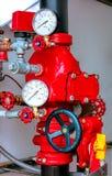 Conjunto de válvula de combate ao fogo do controle do sistema de extinção de incêndios do fogo Imagem de Stock Royalty Free