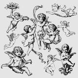 Conjunto de varios ángeles o de cupids stock de ilustración