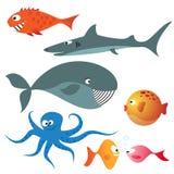 Conjunto de varios animales de mar Imagen de archivo libre de regalías