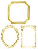 Conjunto de varios bastidores de oro Fotografía de archivo